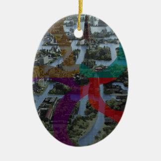 Arquitectura de paisaje de la improvisación de adorno navideño ovalado de cerámica