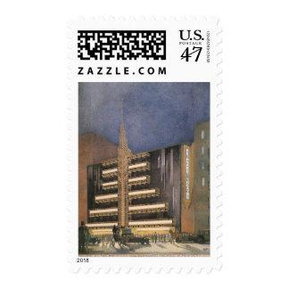 Arquitectura del art déco del vintage, estampilla
