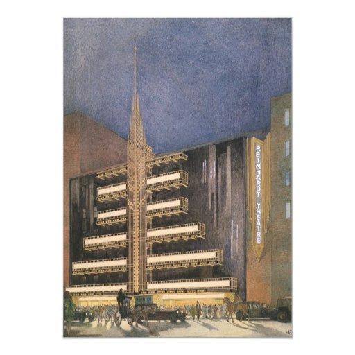 """Arquitectura del art déco del vintage, invitación 5"""" x 7"""""""