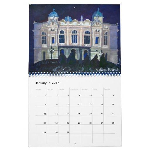 Arquitectura del europeo de las pinturas calendario de pared