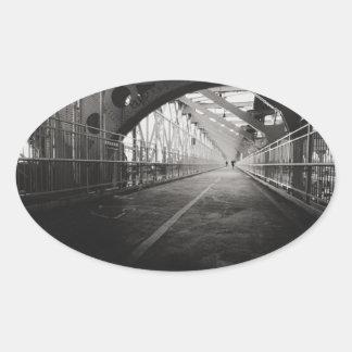 Arquitectura del puente de Williamsburg - New York Pegatina Ovalada