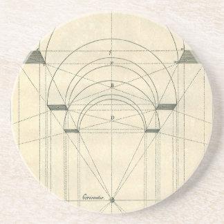 Arquitectura del vintage, arcos Perspecitve Posavasos Manualidades