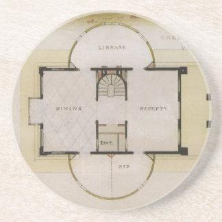 Arquitectura del vintage, chalet griego y plan de posavasos de arenisca
