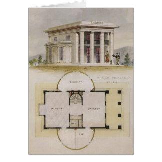 Arquitectura del vintage, chalet griego y plan de felicitacion