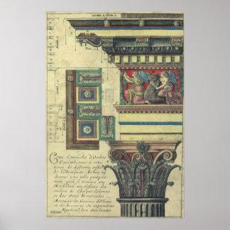 Arquitectura del vintage, columna con el moldeado póster