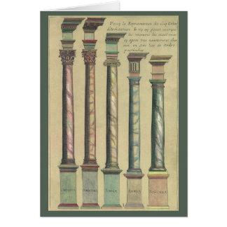 Arquitectura del vintage, las 5 órdenes tarjeta de felicitación