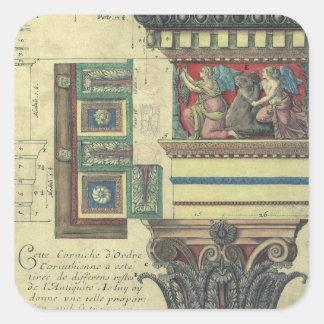 Arquitectura del vintage, moldeado de la cornisa y pegatina cuadrada