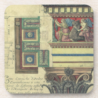 Arquitectura del vintage, moldeado de la cornisa y posavasos de bebida