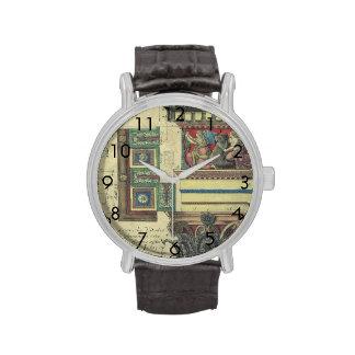 Arquitectura del vintage, moldeado de la cornisa y relojes