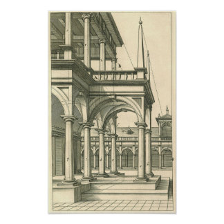 Arquitectura del vintage, patio romano con las póster