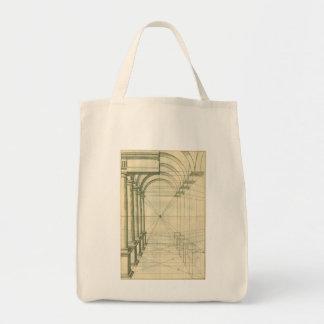 Arquitectura del vintage, perspectiva de las bolsa tela para la compra