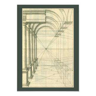 """Arquitectura del vintage, perspectiva de las invitación 5"""" x 7"""""""