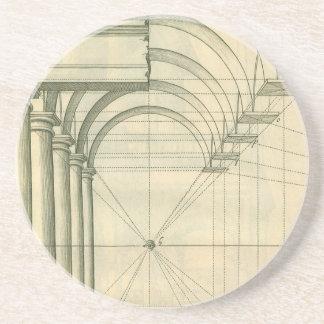 Arquitectura del vintage, perspectiva de las posavasos personalizados