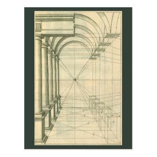Arquitectura del vintage, perspectiva de las postales