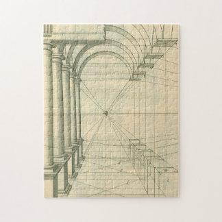 Arquitectura del vintage, perspectiva de las puzzle con fotos