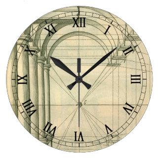 Arquitectura del vintage, perspectiva de las reloj redondo grande