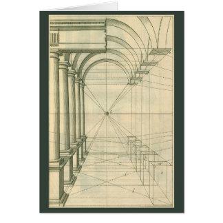 Arquitectura del vintage, perspectiva de las tarjeta de felicitación