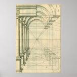 Arquitectura del vintage, perspectiva de los arcos impresiones