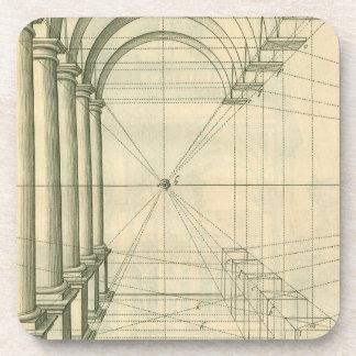 Arquitectura del vintage, perspectiva de los arcos posavasos de bebidas