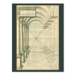 Arquitectura del vintage, perspectiva de los arcos postal
