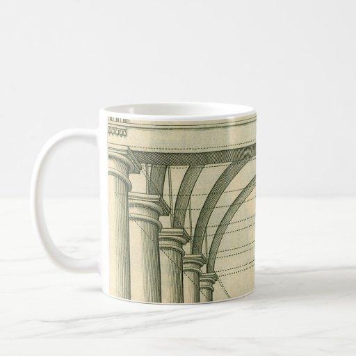 Arquitectura del vintage, perspectiva de los arcos tazas de café
