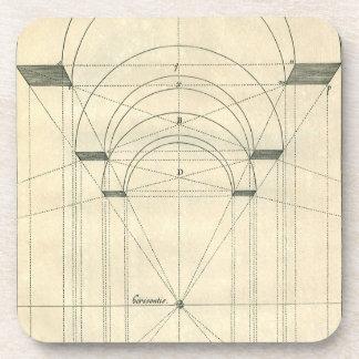 Arquitectura del vintage, perspectiva del arco del posavasos de bebida