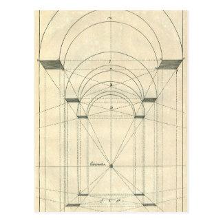 Arquitectura del vintage, perspectiva del arco del postal