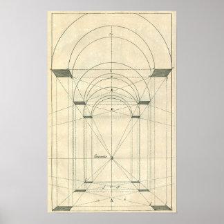 Arquitectura del vintage, perspectiva del arco del póster