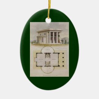 Arquitectura del vintage, plan de piso y chalet adorno navideño ovalado de cerámica