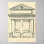 Arquitectura del vintage, pórtico romano con las c