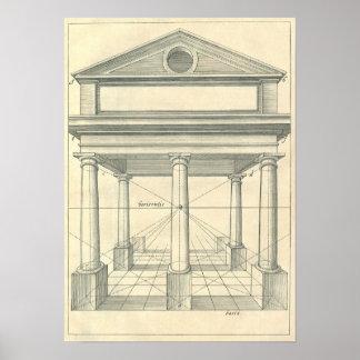 Arquitectura del vintage, pórtico romano con las c impresiones