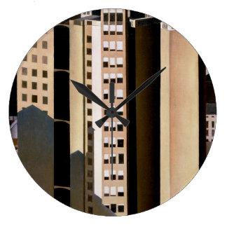 Arquitectura del vintage, rascacielos de Sheeler, Reloj Redondo Grande