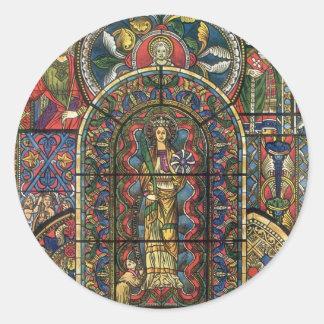 Arquitectura del vintage, ventana de la iglesia pegatina redonda