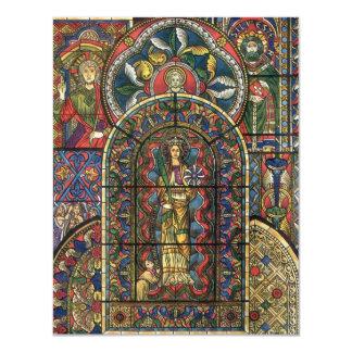 """Arquitectura del vintage, vitral de la iglesia invitación 4.25"""" x 5.5"""""""