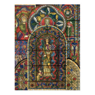 Arquitectura del vintage, vitral de la iglesia tarjeta postal