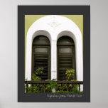 Arquitectura española verde Windows de Puerto Rico Póster