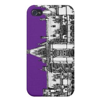 Arquitectura gótica en púrpura iPhone 4 protectores