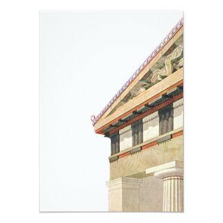 """Arquitectura griega del vintage, templo de Athena Invitación 5"""" X 7"""""""