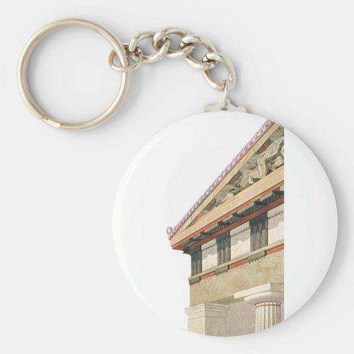 Arquitectura griega del vintage, templo de Athena Llavero Redondo Tipo Pin
