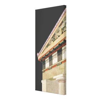Arquitectura griega del vintage, templo de Athena Lona Estirada Galerías