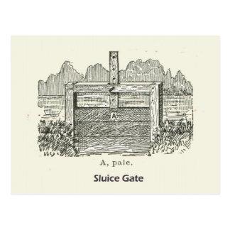 Arquitectura, puerta de esclusa de madera postal