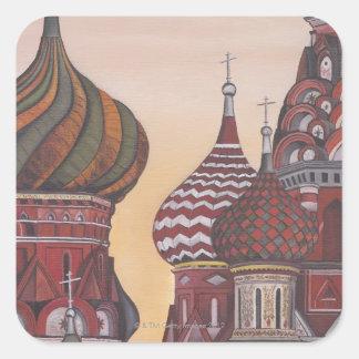 Arquitectura rusa calcomania cuadrada personalizada