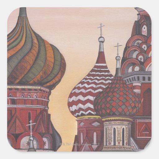 Arquitectura rusa pegatina cuadrada