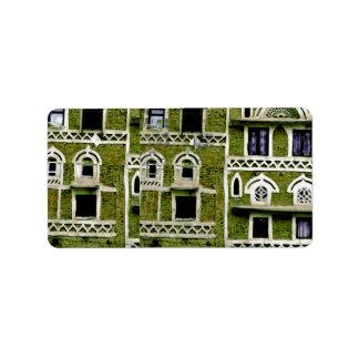 Arquitectura verde de la fachada etiqueta de dirección