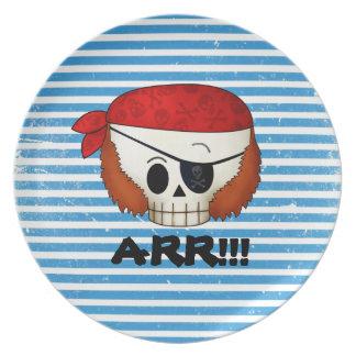 Arr Old School Pirate Skull Dinner Plates