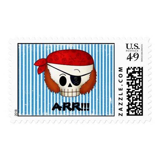 Arr Old School Pirate Skull Stamp