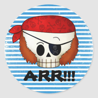 Arr Old School Pirate Skull Stickers