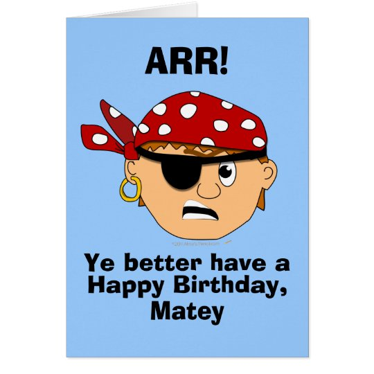 Arr Pirate Boy Funny Birthday Card Template – Pirate Birthday Card