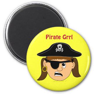 Arr Pirate Girl Cute Customizable Kid Pirate Stuff 2 Inch Round Magnet