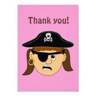 Arr Pirate Girl Cute Customizable Kid Pirate Stuff 3.5x5 Paper Invitation Card